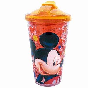 Copo Com Tampa E Canudo Mickey Com Gel Congelante 450ml - Disney