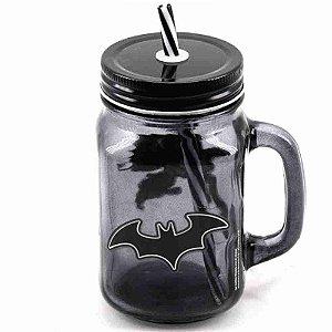 Caneca Vidro C/ Canudo Batman - Liga Da Justiça 450ml