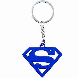 Chaveiro Metal Azul Revestido Silicone Superman - Liga Da Justiça
