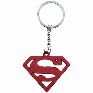 Chaveiro Metal Vermelho Revestido Silicone Superman - Liga Da Justiça