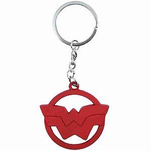 Chaveiro Metal Vermelho Revestido Silicone Mulher Maravilha - Liga Da Justiça