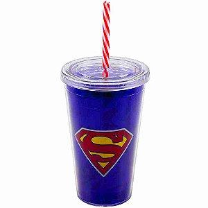 Copo Com Canudo Super Homem 450ml - Liga Da Justiça