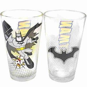 Jogo Com Dois Copos De Vidro Batman 450ml - Liga Da Justiça