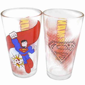 Jogo Com Dois Copos De Vidro Super Homem 450ml - Liga Da Justiça