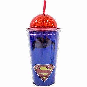 Copo De Plástico Com Canudo Superman 450ml - Liga Da Justiça