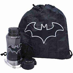 Garrafa 450ml Com Mochila Tipo Saco Batman - Liga Da Justiça