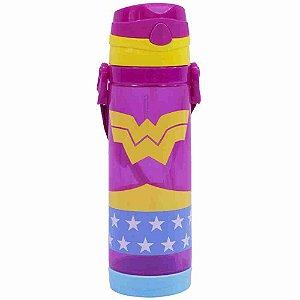 Garrafa De Plástico Com Alça Mulher Maravilha 550ml - Liga Da Justiça