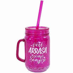 Caneca Pink Com Tampa Canudo Gel Isolante 420ml - Projeto Kiwi