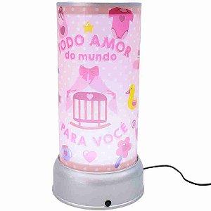 Luminária Giratória Rosa Todo Amor Do Mundo Para Você - Projeto Kiwi