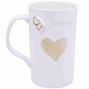 Caneca Porcelana Branca I Love You 340ml