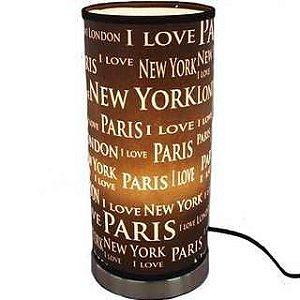 Abajur Luminária Touch Paris, London e New York