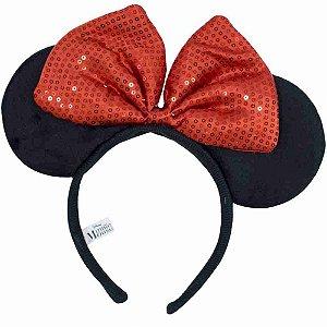 Tiara Com Orelhas Minnie E Laço Vermelho - Disney