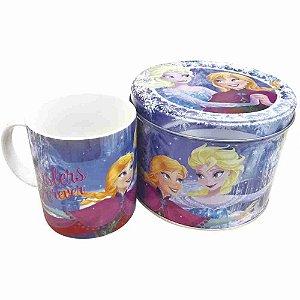 Caneca De Porcelana Azul Na Lata Anna Elsa & Olaf Frozen 350ml - Disney