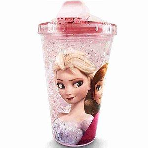 Copo Rosa Com Canudo E Tampa Gel Congelante Anna & Elsa Frozen 450ml - Disney