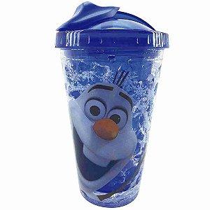 Copo Azul Com Canudo E Tampa Gel Congelante Olaf Frozen 450ml - Disney