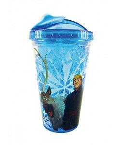 Copo Azul Com Canudo E Tampa Gel Congelante Anna Elsa - Disney