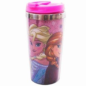 Copo Térmico Rosa Com Tampa Anna Elsa & Olaf Frozen 450ml - Disney