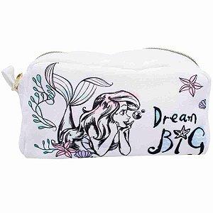 Necessaire Estojo Branco Sereia Ariel 22X10X10cm - Disney