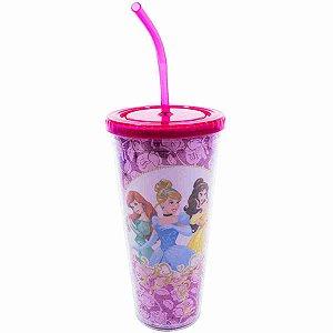 Copo Com Cubos De Gelo Princesas Rosas 600ml - Disney
