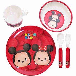 Jg De Refeição Infantil De Melamina Mickey & Minnie Vermelho Tsum Tsum - Disney