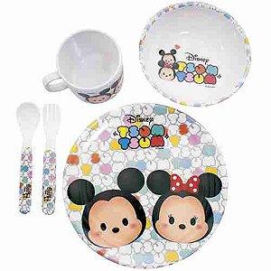 Jg De Refeição Infantil De Melamina Mickey & Minnie Branco Tsum Tsum - Disney