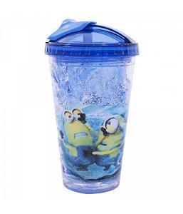 Copo Com Tampa E Canudo Gel Congelante Azul Escuro 450ml - Minions | Meu Malvado Favorito