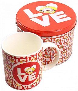 Caneca De Porcelana Na Lata Love 350ml - Minions | Meu Malvado Favorito