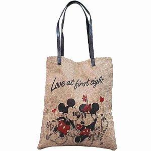 Bolsa Marrom Entrelaçada Mickey Minnie Namorando 37.5x32cm - Disney