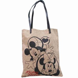 Bolsa Marrom Entrelaçada Mickey Minnie Apaixonados 37.5x32cm - Disney