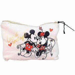 Necessaire Mickey Minnie Namorando 25x18x6cm - Disney