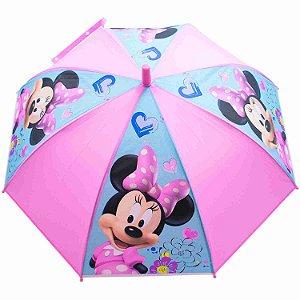 Guarda Chuva Infantil Rosa Minnie Sorridente - Disney