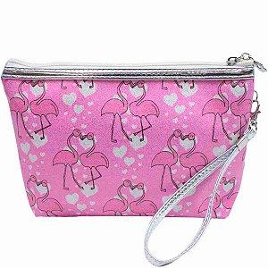 Necessaire Rosa Flamingos 17x7x22.5cm