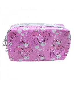 Necessaire Rosa Flamingos 11x6x18cm
