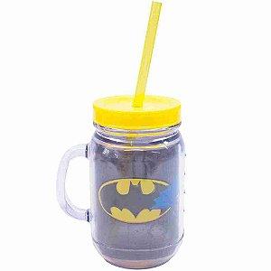 Caneca De Plástico Com Canudo Batman 420ml - Liga Da Justiça