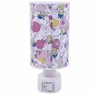 Abajur Luminária Cilíndrica Minions Porcos Rosa - Minions | Meu Malvado Favorito
