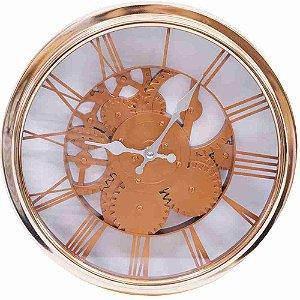 Relógio Parede Mecânica Bronze 30x30cm
