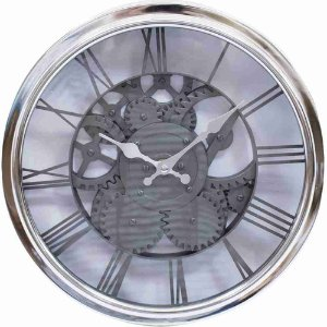 Relógio Parede Mecânica Prata 30x30cm