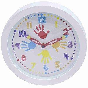 Relógio Parede Branco Mãos 25x25cm
