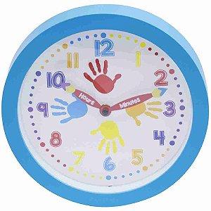 Relógio Parede Azul Mãos 25x25cm
