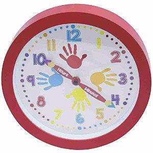 Relógio Parede Vermelho Mãos 25x25cm