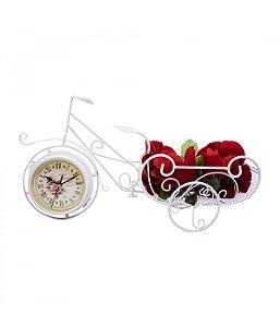 Relógio Bicicleta Branco Porta Objeto 50cm