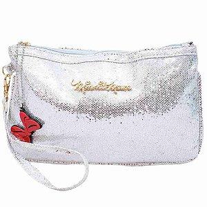 Bolsa Mão Prateada Brilhante Minnie 14x1x21cm - Disney