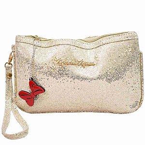 Bolsa Mão Dourada Brilhante Minnie 14x1x21cm - Disney