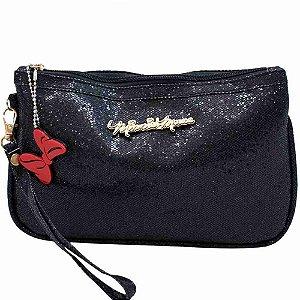 Bolsa Mão Preta Brilhante Minnie 14x1x21cm - Disney
