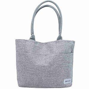 Bolsa Cinza Shopping Bag Bella + Charlie 44X32X13cm