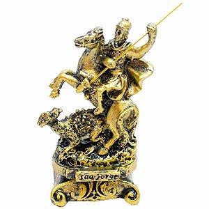 São Jorge Dourado 8cm - Enfeite Resina