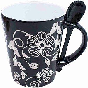 Caneca Porcelana Preta Colher Flores 360ml
