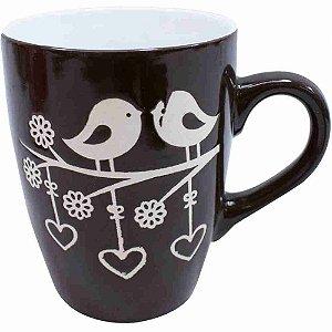 Caneca Porcelana Preta Pássaros 310ml