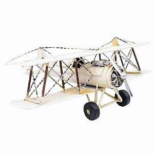 Avião Branco De Hélice 32cm Retrô - Vintage