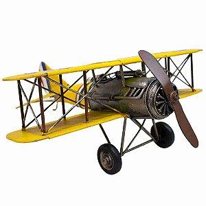 Avião Amarelo De Hélice 36cm Estilo Retrô - Vintage